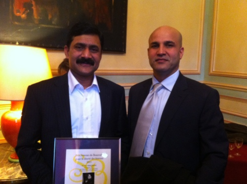 Afridi with Ziauddin Yousafzai, father of Malala, immediately after the Award ceremony. Malala has been honored with the prestigious French Simon de Debouvoir Award 2013 for the Liberty of Women. The award was given to her father in an elegant ceremony held in Paris on January 9, 2013. Later, Najat Vallaud Belkacem, the Minter for Women rights and Spokes-person of the government of France held a prestigious ceremony at the Ministry in honor of Ziauddin Yousafzai.